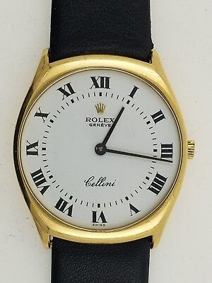 Mens Rolex Cellini 18k Yellow Gold 31mm White Roman Number Dial 4133 Hand Wind