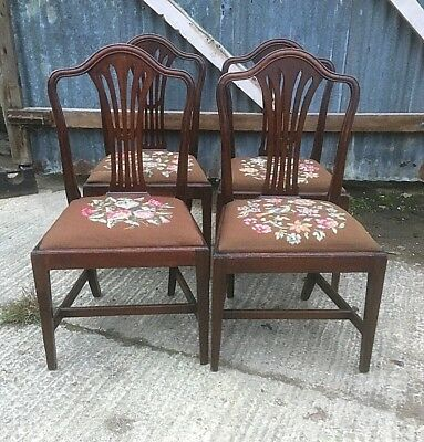 Set Of 4 Georgian Mahogany Dining Chairs