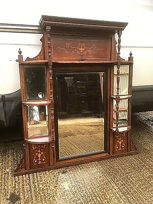 Large Late Victorian Inlaid Rosewood Overmantel Mirror