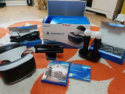 PlayStation 4 ps4 Vr Headset, Camera, Move Controllers, Game Bundle fully boxed