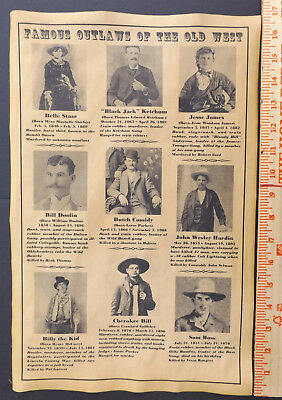 Famous Outlaws of the Old West 11x17 Poster, wanted, Billy the Kid, Jesse James