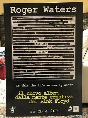 """CARTONATO ROGER WATERS PINK FLOYD """"Is This The Life We Really Want ?"""" Cm.95x55"""