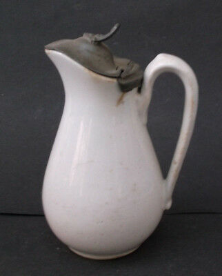 Vintage ANTIQUE White Ironstone China Syrup Pitcher - with LID - ESTATE FIND