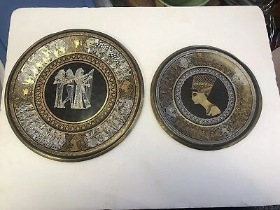 Set Of 2 Vintage Egyptian Wall Art Copper Brass Hanging Decor Plate Plaque