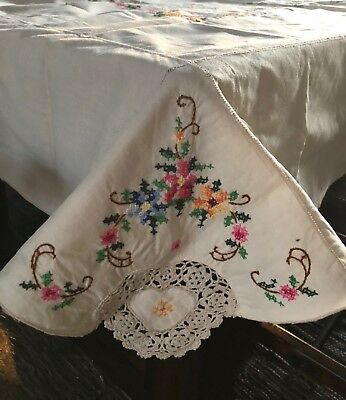"""Vintage Tablecloth 64"""" x 45"""" Beige Cross Stitch Flowers Crocheted Scallop Edge"""