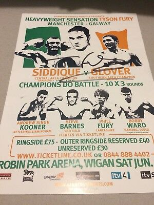 Tyson Fury Signed Fight Flyer. Boxing Memorabilia Autograph