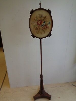Antique William IV Rosewood & Mahogany Pole Screen