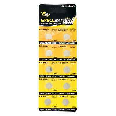 10pk Exell EB-SR927 Silver Oxide 1.5V Watch Battery Replaces 395/399