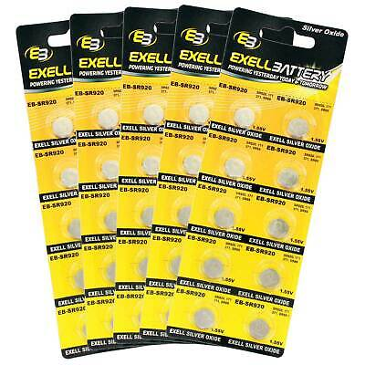 5pc 10pk Exell EB-SR921 Silver Oxide 1.5V Watch Battery Replaces 371/370