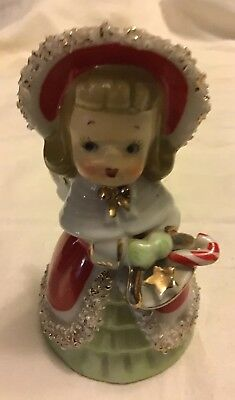 1 Vintage Lefton Christmas Angel Bell Girl With Candy Cane Gift Basket