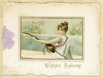 Die Cut Folding Classic Woman Music Instrument Antique Victorian Christmas Card