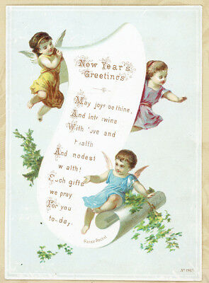 Cherub Angels w Blessings Scroll Antique Victorian NewYear Card