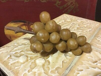Antique vintage Italy alabaster stone marble small beige grapes with wood stem