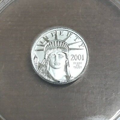 2001 $10 Platinum Eagle 1/10th oz Anacs Perfect MS70 Certified Cracked Holder