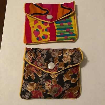 Lot 2 Ladies Oriental Floral Print Fabric Bag With Snap Closure & Zipper.