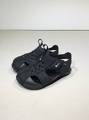 f3dfe1c3072e5 Nike Sunray Protect 2 Toddler Size 7c Black White Casual Sandals Shoes  TF-221