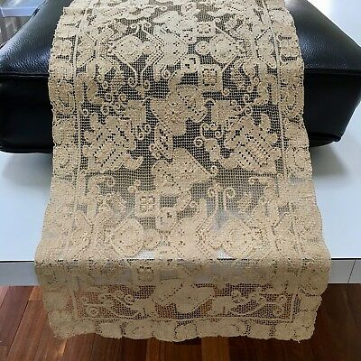"Pristine Antique 42""x13½"" Lace-Crochet Tablecloth Table Runner Handmade Natural"