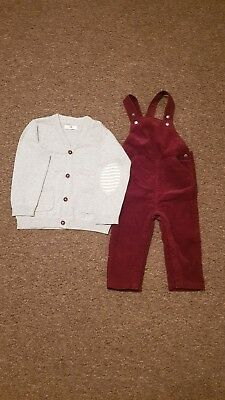 Bnwot La Redoute Boys Burgundy Dungaree Grey Cardigan  Age 18 -24 Months