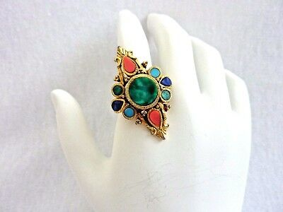 Vintage Signed ART Adjustable RING Inlay Stones, Matches ART Inlay Brooch Pin