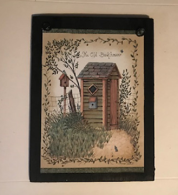 The Old Backhouse green Outhouse bathroom rustic wall decor wood sign 6x8