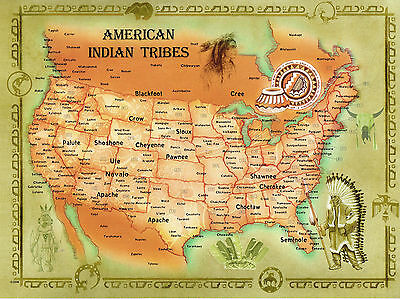 50 Jumbo Postcards American Indian Tribes United States Map