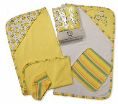 2 Soft Baby Hooded Bath Time Towel & 2 Washcloth Yellow Gift Set 100% Cotton