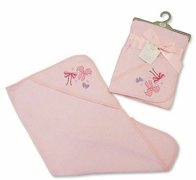 Soft Pink Bows Baby Hooded Bath Wrap Towel 100% Cotton 75x75cm Baby Shower Gift