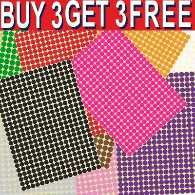6mm Coloured Dot Stickers Round Spot Circles Dots Paper Labels Adhesive