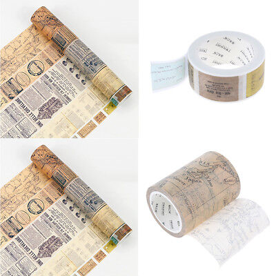 2 Pieces Vintage Decorative DIY Washi Paper Masking Tape Ticket & World Map