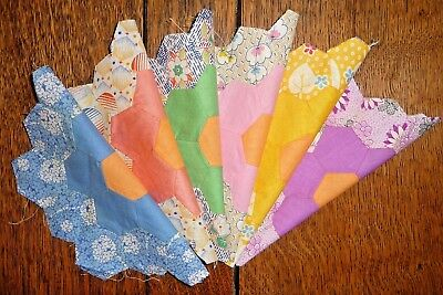 Vintage Lot of 6 Grandmother's Flower Garden Quilt Blocks 7.75 x 8.5 inches