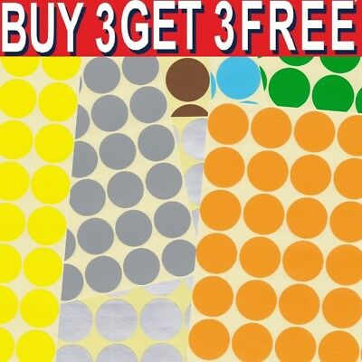 25mm Coloured Dot Stickers Round Spot Circles Dots Paper Labels Adhesive