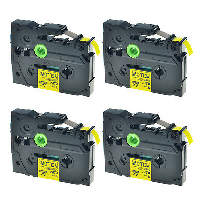 """4PK TZ TZe 621 Black on Yellow Label Tape For Brother P-Touch PT-1960 3/8"""" 9mm"""