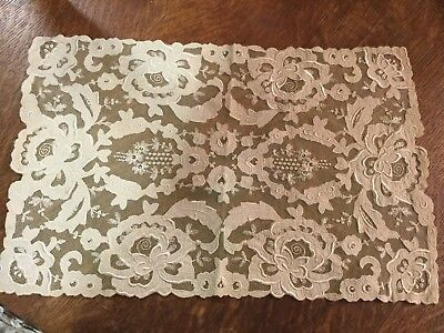 Antique vtg needle lace, embroidered table runner doily floral motif ivory color