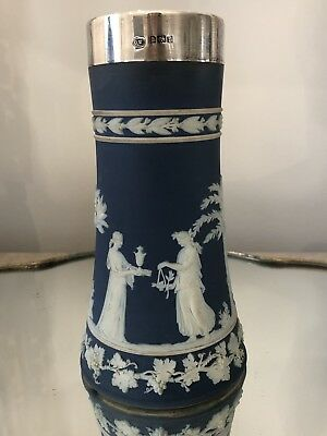 "Antique WEDGWOOD 6 3/4"" Tall Jasperware With Sterling Silver Rim VASE Dark Blue"