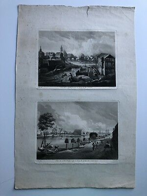 Large Antique Late 18th Century Engraving Views Of Nykoping Sweden #ENG1