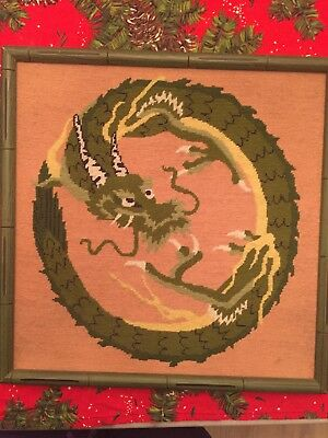 Vintage Chinese Dragon Completed Needlepoint Chinoiserie Framed