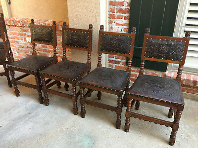 Set 4 Antique French Renaissance Carved Oak Dining Chairs EMBOSSED LEATHER Brown