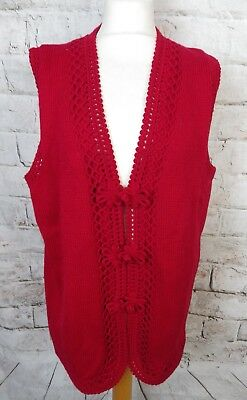 """Vintage hand knit sleeveless red wool cardigan 16 oriental buttons Bust 44"""""""