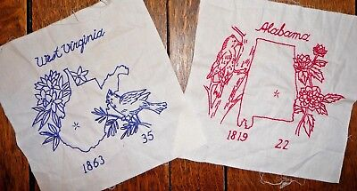 Vintage Lot of 38 State Bird/Flower Quilt Blocks to Embroider 8 Finished