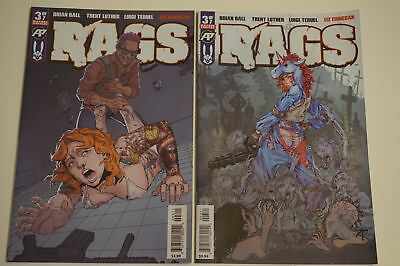 2x RAGS # 3 Comic ~ Antarctic Press 1ST PRINT ~ Reg & EXPOSED VARIANT~ZOMBIE