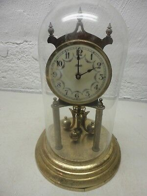 Vintage Kundo Anniversary Clock with Glass Dome Selling for Parts Non-Working