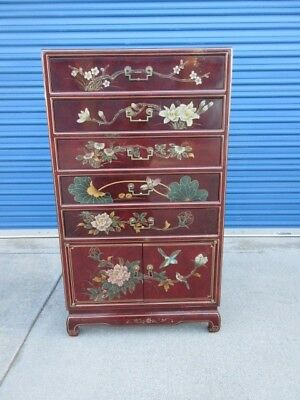 Oriental Style Chest of Drawers with Lacquer Painted Ornate Design