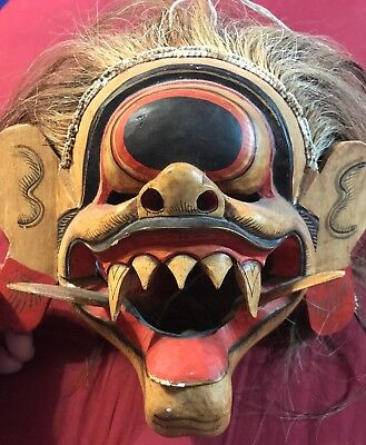 Large Vintage Wooden Barong Demon Mask Hand Carved Wood Bali Wall Decor Art 8x10