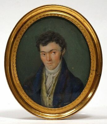 Antique ca 1820 GEORGIAN Watercolor MINIATURE Portrait HANDSOME Young GENTLEMAN