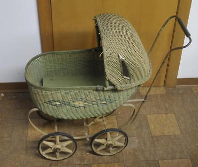 Antique Vintage Wicker Doll Buggy Carriage Childs Toy