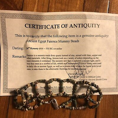 Ancient Egyptian Faience Mummy Bead Bracelet Sterling Silver Clasp 600 BC COA