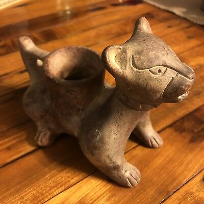 Antique Post Columbian Mexico Mesoamerican Pottery Vase Jaguar Cat Folk Art