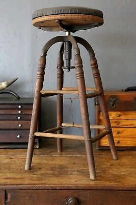 vintage adjustable Industrial drafting stool architect chair wood cast iron old
