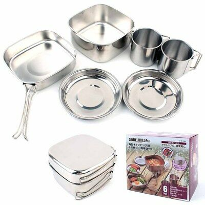 6PCS Practical Stainless Steel Nontoxic Picnic Set for Camping Backpacker Family