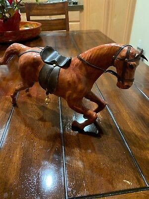 """Vintage Leather Wrapped Horse Statue Figure with Saddle 19"""""""